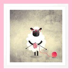 Sheep Art Print by Sanja Amic Knitting Humor, Crochet Humor, Knitting Blogs, Knitting Yarn, Knitting Tattoo, Yarn Tattoo, Sheep Illustration, Graphic Illustration, Black Sheep Tattoo
