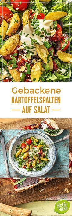 Step by Step Rezept: Gebackene Kartoffelspalten, Oliven, Rucola, getrocknete Tomaten und Aioli Kochen / Essen / Ernährung / Lecker / Kochbox / Zutaten / Gesund / Schnell / Frühling / Einfach / DIY / Küche / Gericht / Blog / Leicht / selber machen / backen / Salat / 30 Minuten / Veggie / Vegetarisch #hellofreshde #kochen #essen #zubereiten #zutaten #diy #rezept #kochbox #ernährung #lecker #gesund #leicht #schnell #frühling #einfach #küche #gericht #trend #blog #selbermachen #backen #salat
