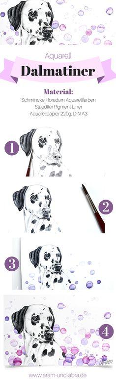 Schritt für Schritt: Hund malen in Aquarell | Portrait | Zeichnen | DIY | Tipps | Anleitung | kreativ | Kunst | Dalmatiner