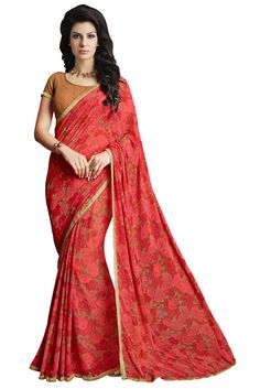 833744ecb0a8f Bollywood Designer Lovely New Fancy Red Colour Georgette Saree With Blouse