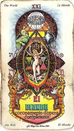Il Mondo-Arcano Maggiore dei Tarocchi Sphinx, Online Tarot, 5 Cents, Cursed Child Book, Tarot Decks, Dark Fashion, Tarot Cards, Occult, Taurus