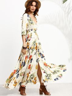 Shop Floral Print Deep V Neck Drawstring Button Dress online. SheIn offers Floral Print Deep V Neck Drawstring Button Dress & more to fit your fashionable needs.