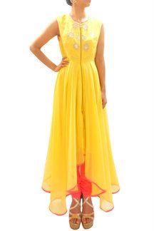 Yellow & Pink Draped Anarakali - only on Scarlet Bindi