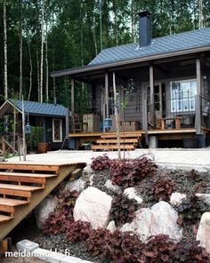 are visiting Auntie's woodsy cabin today for our annual fall family dinner. Cottage Porch, Cottage Plan, Small Summer House, Scandinavian Cabin, Dark House, Hillside Landscaping, Spa Rooms, Lake Cabins, Cozy Cabin