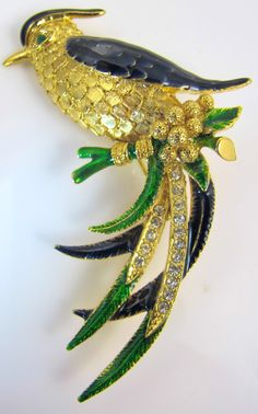 Sphinx Bird Of Paradise Brooch Pin Enamel.