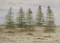 A Pretty Talent Blog: Watercolours: Lonely Pine Trees Landscape Drawings, Landscapes, Pine Tree Painting, Brown Paint, Watercolours, Art Techniques, Lonely, Art Ideas, Bible