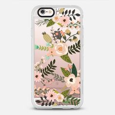 Peachy Pink Florals - protective iPhone 6 phone case in Clear and Clear by @rubyridgestudio #floral | @casetify