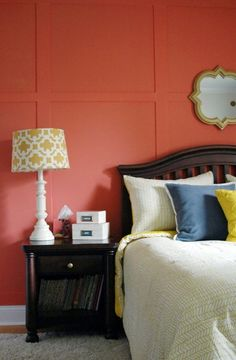 A Coral, Navy & Yellow Color Scheme | Apartment Therapy. I just bought a rug with the same pattern as the lamp.