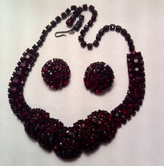Joseph Warner RARE Red Ruby Rhinestone Necklace and Clip on Earring Set | eBay