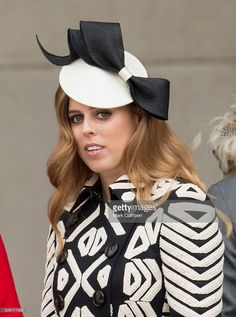 Princess Beatrice attends a National Service of Thanksgiving as part of the 90th birthday celebrations for The Queen at St Paul's Cathedral on June 10, 2016 in London, England. - Designer:  Sarah Cant SS 2014 - Royal Hats