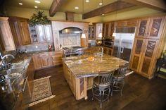 acacia floors with alder cabinets | alder cabinets