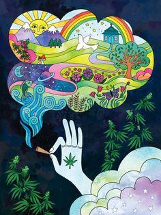 Hippie Painting, Trippy Painting, Arte Dope, Dope Art, Trippy Drawings, Art Drawings, Psychedelic Art, Arte Indie, Marijuana Art
