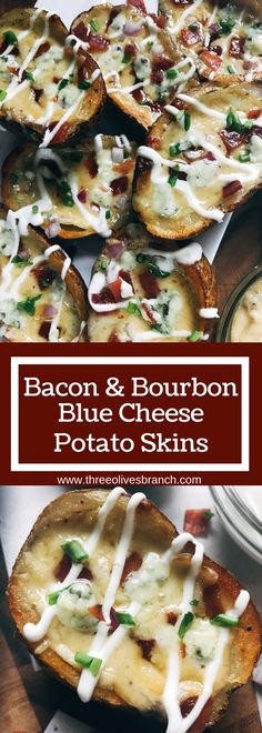 Make in advance for an easy game day appetizer! A twist on a classic snack, perfect for a party or Super Bowl football event. Vegetarian friendly. Bacon and Bourbon Blue Cheese Potato Skins | Three Olives Branch | www.threeolivesbr...