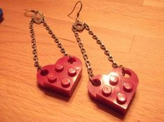 just in time for valentine's day. lego heart earrings. (almost as cool as my cupid troll doll earrings in elementary school. god i was cool).