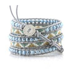 Light Turquoise and Miyuki Seen Beads on Gray