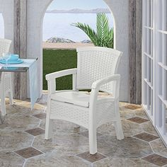 Suncast Elements Dining Chair with Storage - Lightweight, Resin, All-Weather Outdoor Storage Chair - Wicker Patio Decor with Built in Storage Capacity up to lbs.