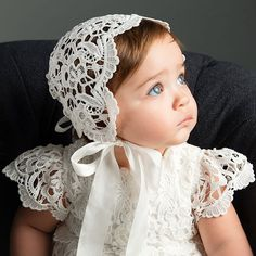 Lola Lace Bonnet Ivory - Girls Lace Baby Bonnet - Christening & Baby Baptism Bonnets - Baby Girl Hats and Bonnets Girls Baptism Dress, Baby Girl Baptism, Baptism Outfit, Baptism Clothes, Baby Girl Christening Outfit, Baby Girls, Baby Boy, Lace Christening Gowns, Baptism Gown