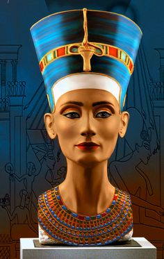 """Queen Nefertiti, whose name means """"beautiful come"""" is Omnhotp the fourth wife of King (who later became Akhenaten) Pharaoh's family famous eighteenth, and protectors of Tutankhamen. It was one of the most powerful women in ancient Egypt Egyptian Queen Tattoos, Egyptian Beauty, Egyptian Women, Egyptian Tattoo, Egyptian Goddess, Ancient Egyptian Art, Egypt Queen, Queen Nefertari, Pyramids Egypt"""