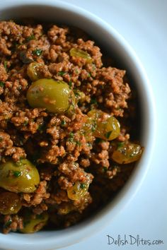 Cuban-style picadillo is a one pot wonder with a ton of flavor, and it's ridiculously easy to make. It's a stuffing/filling for many delish Latin dishes. Meat Recipes, Mexican Food Recipes, Cooking Recipes, Healthy Recipes, Cooking Ideas, Lamb Recipes, Healthy Nutrition, Healthy Food, Food Ideas