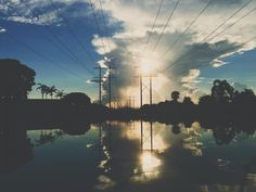 sunset, dusk, sky, clouds, water, reflection, power lines, blue, silhouette, sunshine, landscape, nature