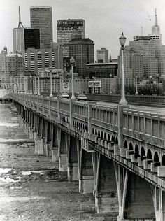 Dallas viaduct connecting downtown with Oak Cliff. Houston Street Viaduct, 1969