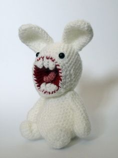"""open wide! a knit toy representative of a new toy movement called, """"amigurumi""""!"""