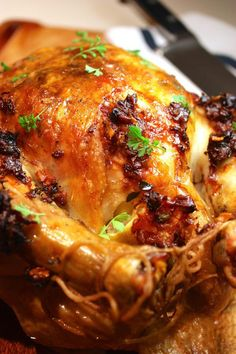 Lemon & Prosciutto Roast Chicken Made me think of bacon roasted chicken though I haven't come across such recipe yet