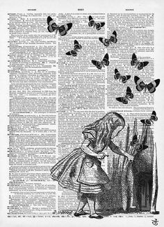 Tumblr, art, reading, alice in wonderland, dream, dreams, surreal, black and white, drawing