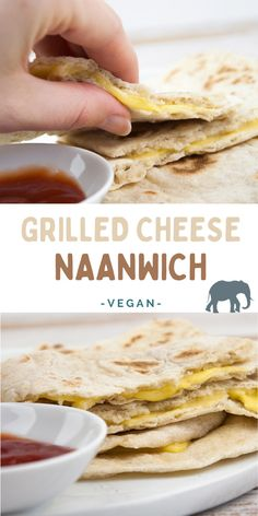 The best out of two worlds: Naan + Grilled Cheese = Grilled Cheese Naanwich! | ElephantasticVegan.com #vegan #naanwich #grilledcheese Vegan Breakfast Recipes, Delicious Vegan Recipes, Raw Food Recipes, Sweet Recipes, Vegan Meals, Vegan Food, Vegan Vegetarian, Vegetarian Recipes, Healthy Recipes