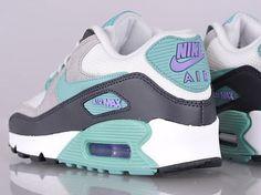 nike wmns air max 90 white navy teal purple Nike Womens Air Max 90   Light Base Grey   Diffused Jade