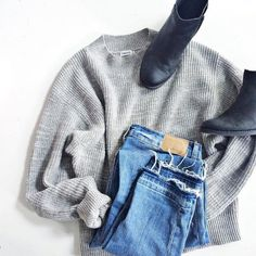 Boots + Sweater + Jeans. Hello, Fall. #Style #Inspiration #Fashion
