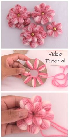 DIY Embroidery Thread Flowers with Cardboard Tutorial + Video - - .- DIY Stickgarn Blumen mit Karton Tutorial + Video – – … DIY embroidery thread flowers with cardboard tutorial + video – – thread - Crochet Crafts, Yarn Crafts, Fabric Crafts, Diy And Crafts, Crafts For Kids, Easter Crafts, Cardboard Crafts, Kids Diy, Decor Crafts