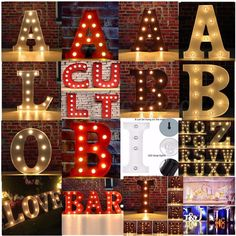 LED Marquee Letter Lights Vintage Alphabet Circus Style Light Up Sign 12   & 9