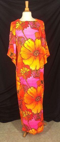"""Royal Palm Hawaii Tiki Hawaiian Dress Luau Vintage Maxi 43"""" Bust Hibiscus Flower #RoyalPalms #Hawaiian #TikipartyLuau"""