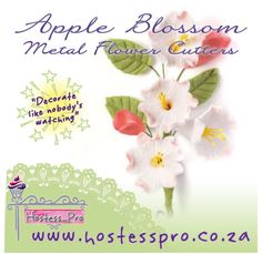 Apple Blossom Flower Cutters Visit us online to see what other flower cutters and veiners  we have www.hostesspro.co.za #cakedecorating #hostessprosugarcraft #sugarcraft  Hostess Pro - Sugar Craft