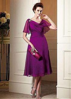 Buy discount Exquisite Chiffon A-line Cowl Neckline Tea-Length Mother of the Bride Dress at Dressilyme.com