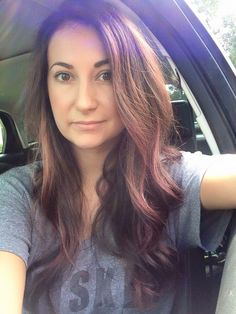Brunette base color with a combination of rose gold, wine and violet bayalage