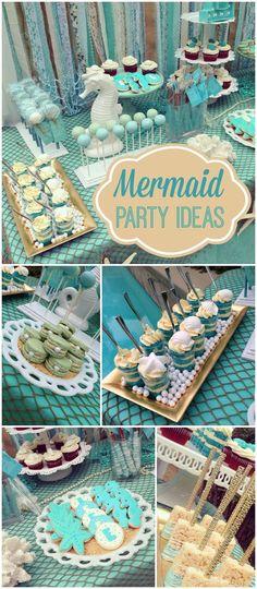 34 Ideas Birthday Party Mermaid Theme Food Ideas For 2019 Little Mermaid Birthday, Little Mermaid Parties, Baby Mermaid, Girl Birthday, Baby Shower Mermaid Theme, Birthday Table, 16th Birthday, Mermaid Babyshower Ideas, Mermaid Themed Party