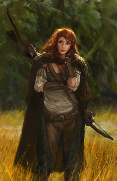 I love this painting of a female archer, redheaded, in realistic travel clothing. Maybe a ranger? I kind of want to be her.  Efflam Mercier