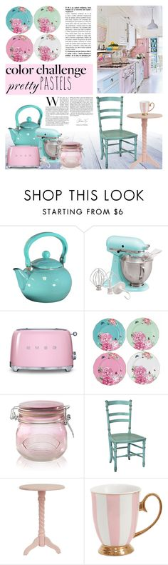 """Color Challenge: Pretty Pastels"" by milica1940 ❤ liked on Polyvore featuring interior, interiors, interior design, home, home decor, interior decorating, Reston Lloyd, KitchenAid, Smeg and Royal Albert"