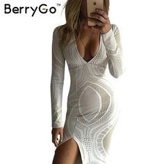 Click to order BerryGo white spl... If you like please click the like button button http://isaledresses.com/products/berrygo-white-split-bodycon-lace-dress-women-autumn-deep-v-neck-slim-pencil-dresses-party-long-sleeve-winter-sexy-dress-vestidos?utm_campaign=social_autopilot&utm_source=pin&utm_medium=pin  Global Shipping!