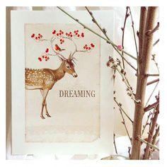 Deer print dreaming wall art Christmas print by CafeBaudelaire