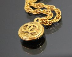 Vintage CHANEL Gold Logo Chain Necklace by fashionsquid