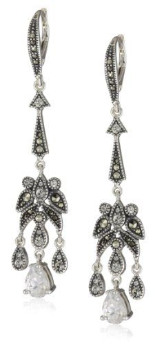 Judith Jack %22Holiday Glamour%22 Sterling Silver%2C Marcasite and Cubic Zirconia Linear Drop Earrings