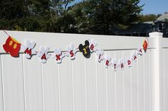 Mickey Mouse Birthday Personalized Banner. $20.00, via Etsy.