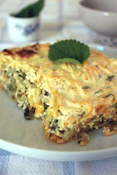 Flan de légumes au yaourt et à la menthe Ingrédients :  1 oignon 3 petites courgettes 2 carottes Huile d'olive 1 œuf 500g de yaourt nature 1 bouquet de menthe fraiche Sel, poivre