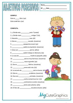 Actividad de adjetivos posesivos. Possessive Adjectives Spanish, Spanish Grammar, Spanish Vocabulary, Spanish Language Learning, Spanish Teacher, Possessive Pronouns, English Adjectives, Spanish English, Spanish Classroom Activities