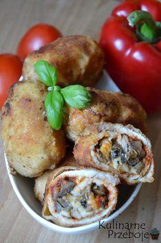 Roladki schabowe z pieczarkami i serem - KulinarnePrzeboje.pl Polish Recipes, Polish Food, Salmon Burgers, Catering, Food And Drink, Cooking Recipes, Yummy Food, Chicken, Dinner