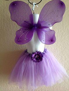 Purple Princess Fairy Tutu and Wings Set by partiesandfun on Etsy, $14.00