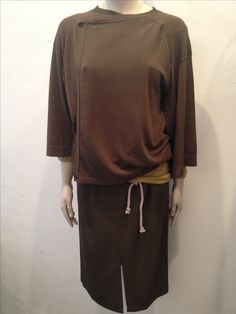 All Humanoid: Skirt Wytse in Mud €157, Cardigan Days €165 and Top Lasso €97 in Olive.